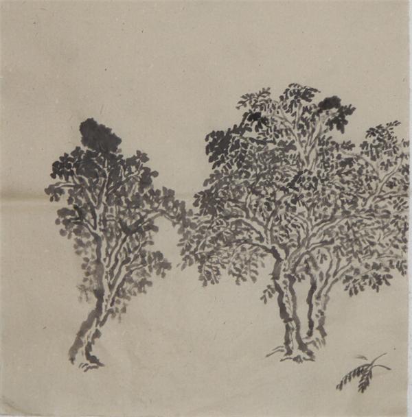 """韩国栋为""""中国画临摹写生研究班""""讲授并示范山水画树法 及其用笔方法"""